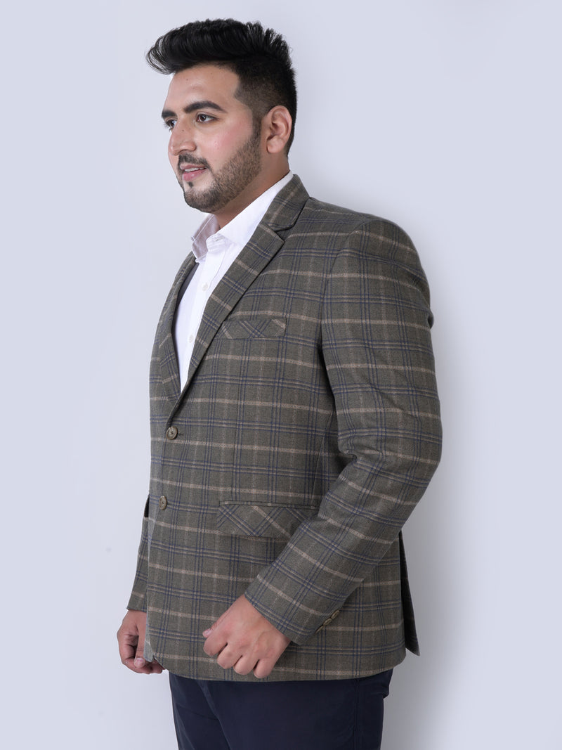 Khaki With Blue Stripes Blazers - 7731