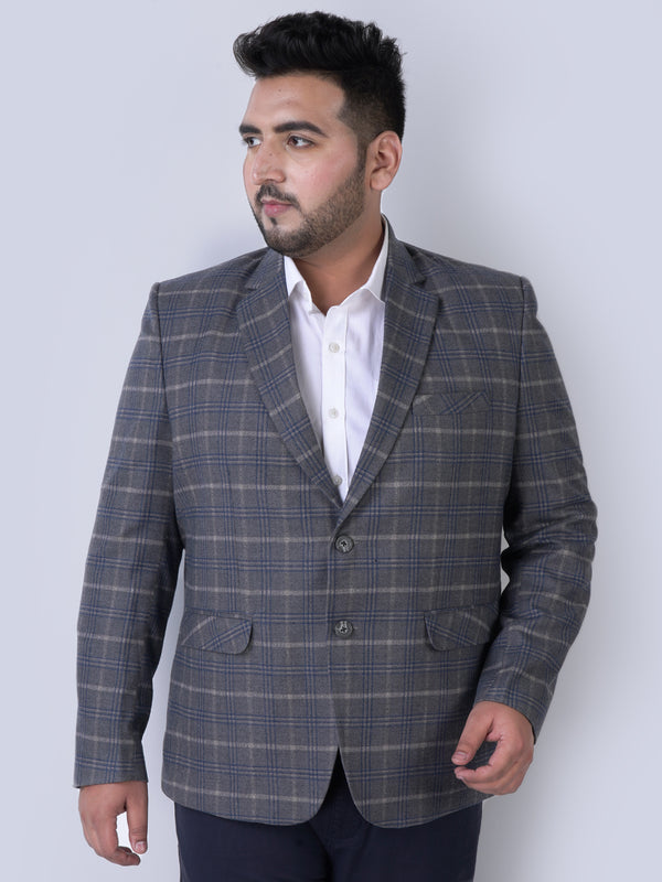 Grey With Blue Stripes Blazer - 7732