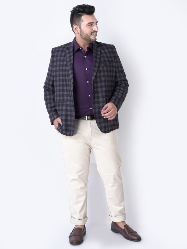 Dark Grey Multi Color Check Shirt- 7734