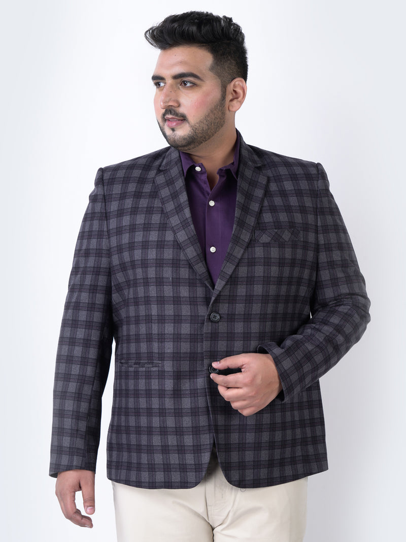 Dark Grey Multi Color Check Blazer - 7734