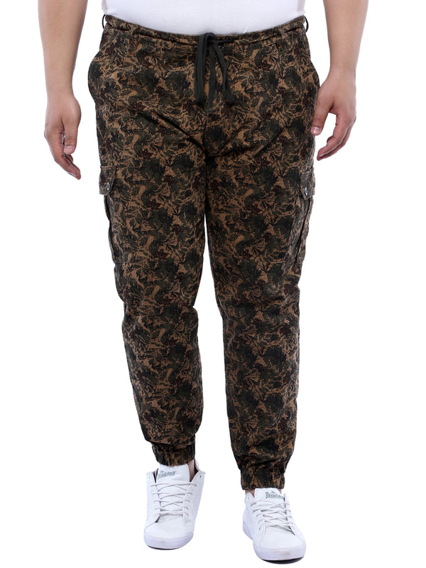 Brown Printed Cotton Jogger- 1179A