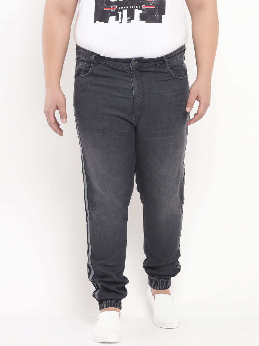 Charcoal Denim Stretchable Jogger with Side Stripe-1212