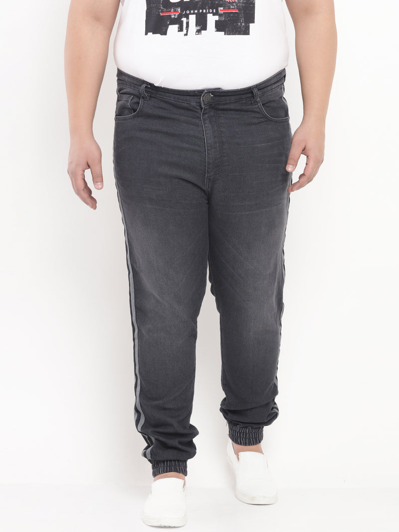 Charcoal Denim Stretchable Jogger with Side Stripe-1212B