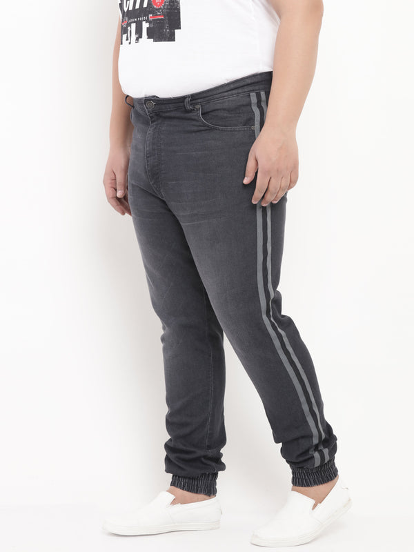 Charcoal Denim Jogger with Side Stripe Detail-1212