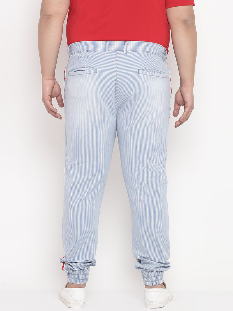 Pin Stripes Blue Denim Jogger With Side Stripe Detail-1213