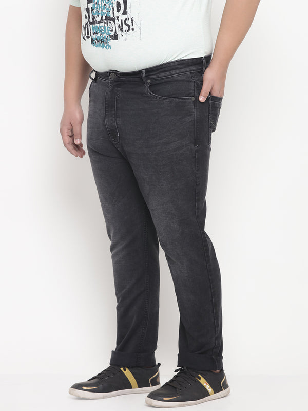 Black Faded Wash Comfort Fit Denim Jeans-1214