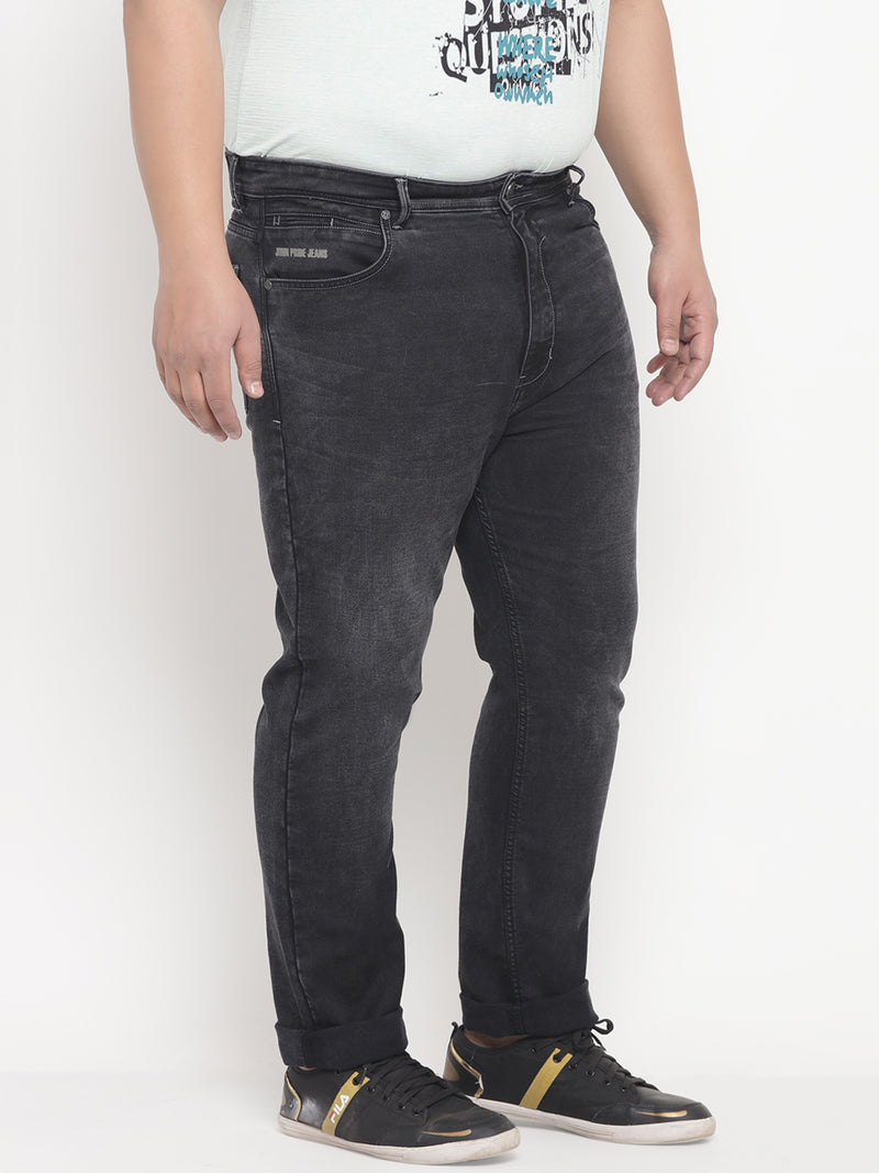 Black Faded Wash Comfort Fit Stretchable Denim Jeans-1214