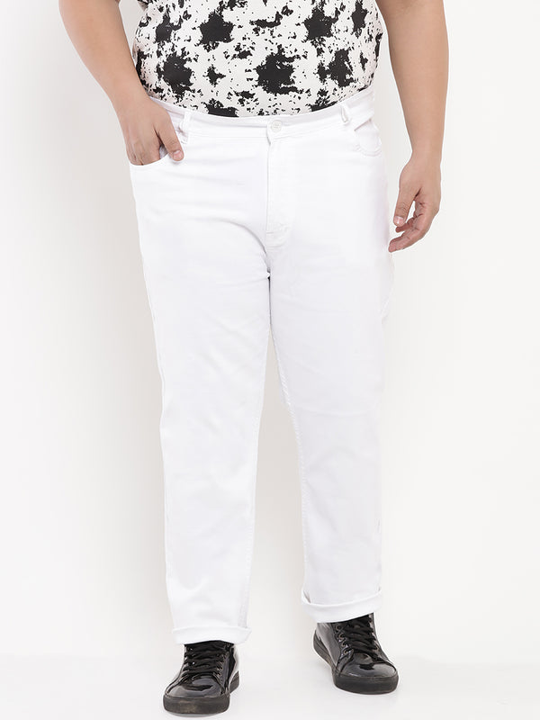 White Basic Stretchable Denim Jeans-1216