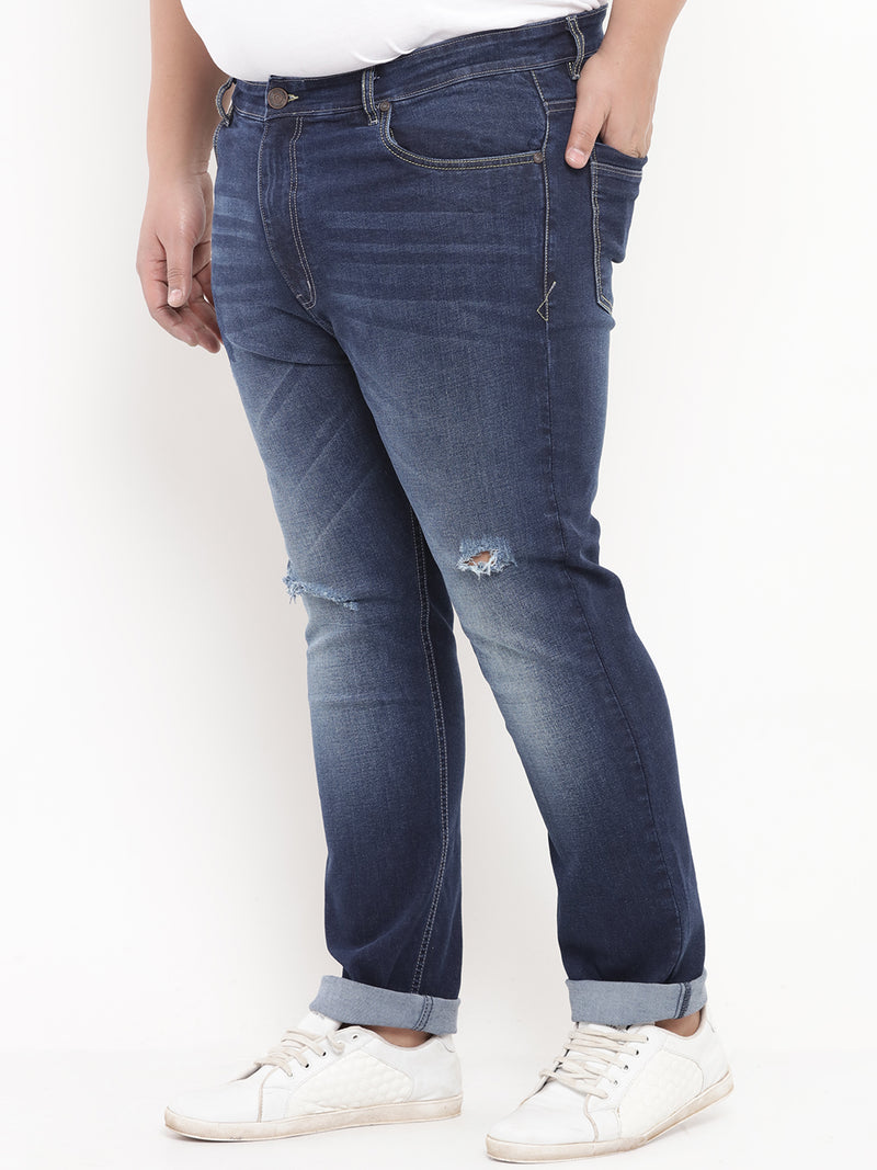 Medium Blue Ripped Stretchable Denim Jeans-1218