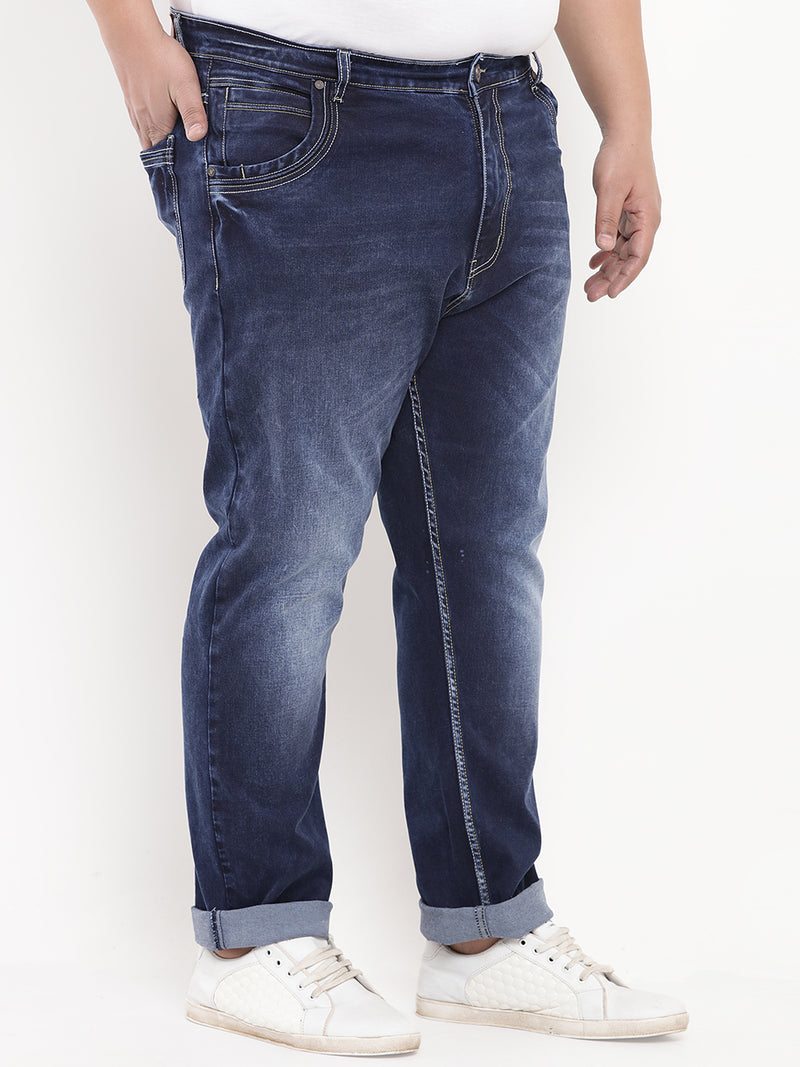 Dark Blue Stretchable Comfort Fit Denim Jeans-1219