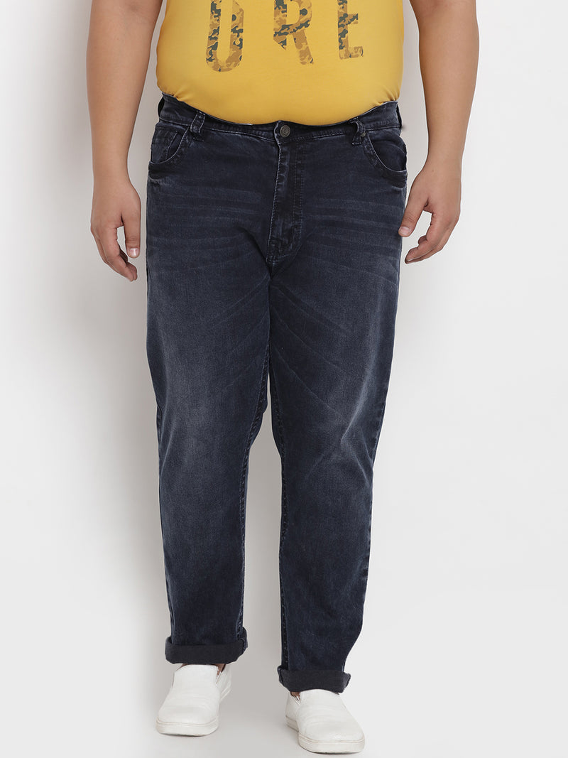 True Deep Blue Stretchable Jeans with Tonal Thick-Thread  - 1229
