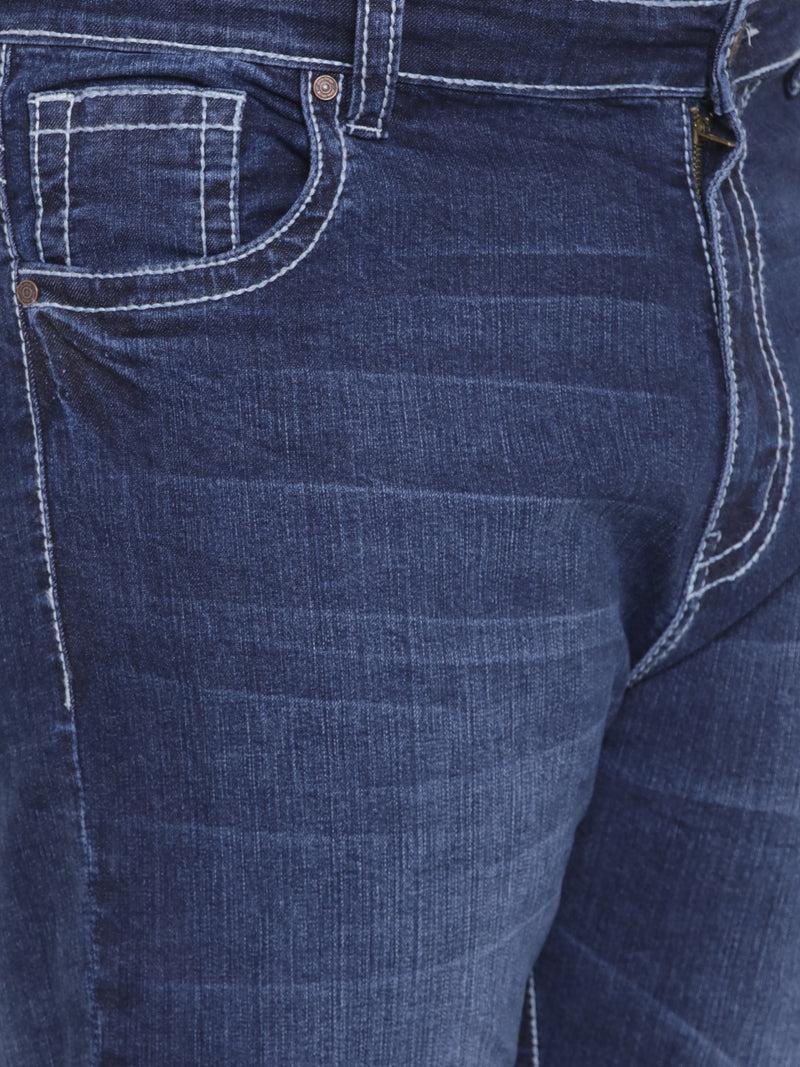 True Persian Blue Stretchable Jeans with Contrast Thick-Thread - 1230