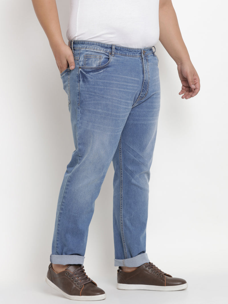 Unassuming Light Blue Cotton Stretchable Jeans - 1231