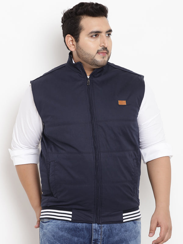 Navy Blue Sleeveless Jacket- 7330
