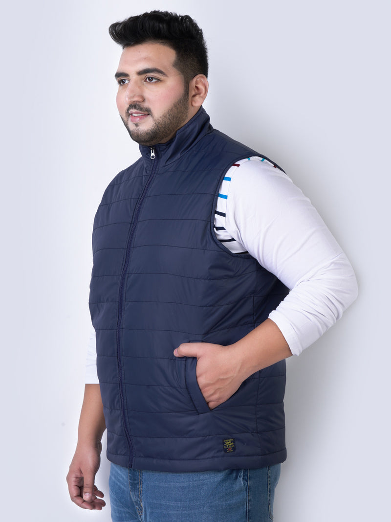 Navy Blue Sleeveless Jackets-7364B