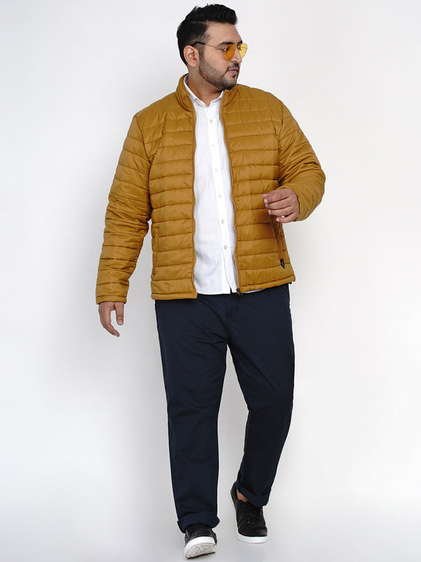 LIGHTWEIGHT POCKETABLE MUSTARD JACKET WITH A POCKET BAG-7385A