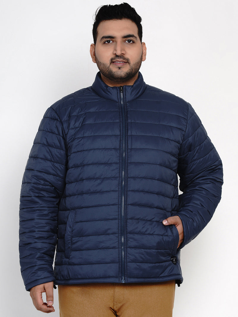 LIGHTWEIGHT POCKETABLE NAVY BLUE JACKET WITH A POCKET BAG-7385B