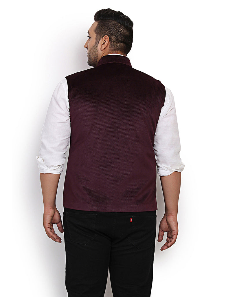 Purple Velvet Nehru Jacket- 7403A