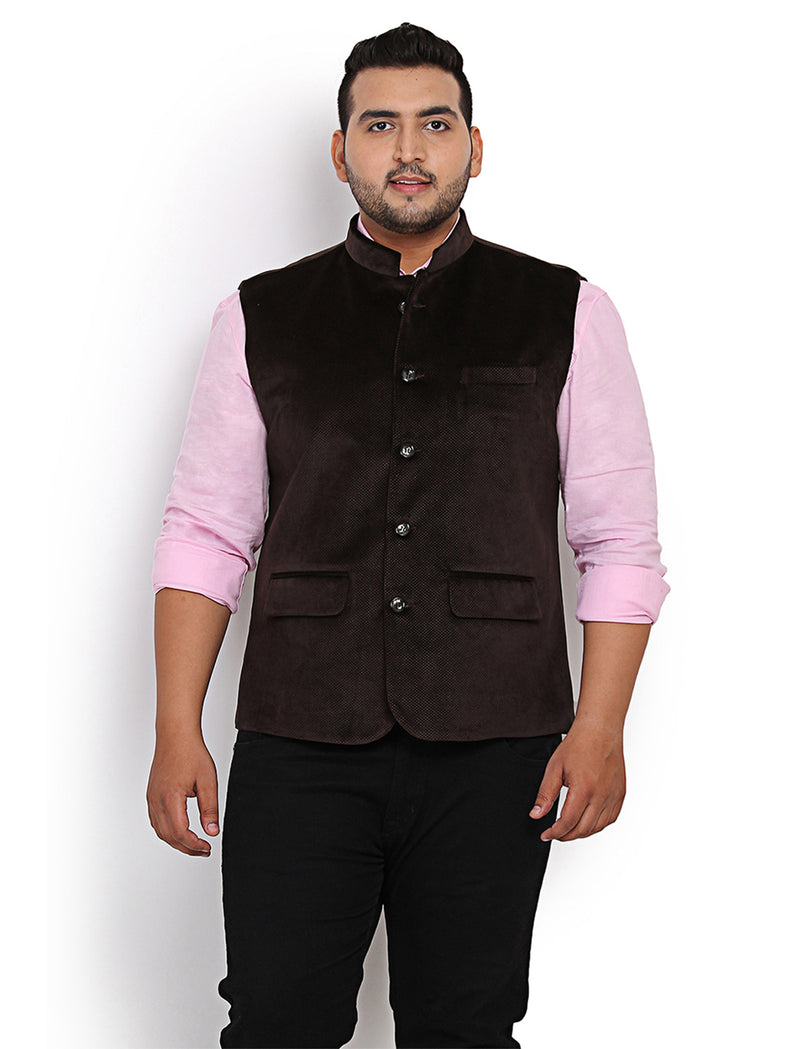 Coffee Velvet Nehru Jacket- 7403B
