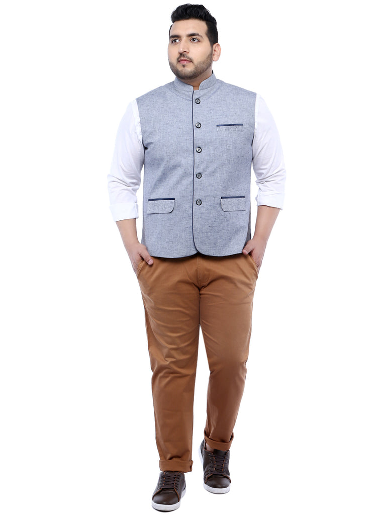 Grey Solid Nehru Jacket- 7422