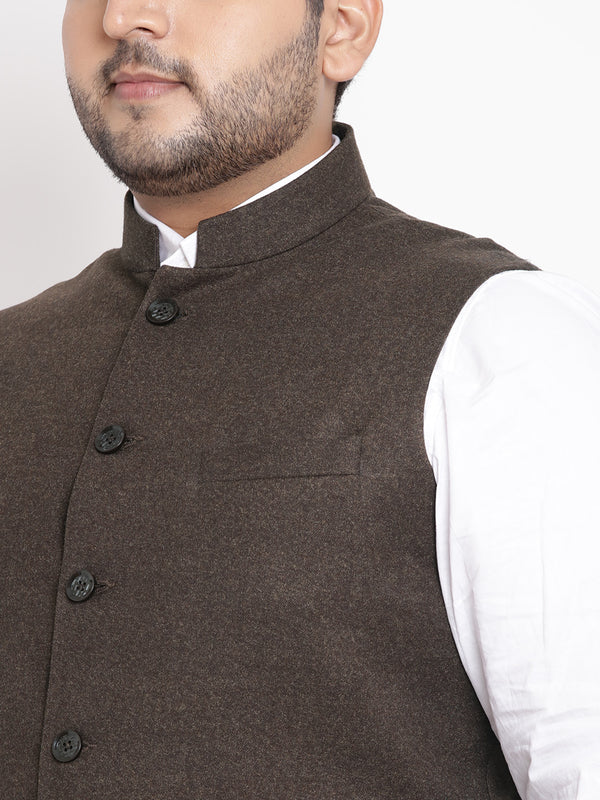 Brown Sleveless Nehru Jacket- 7426