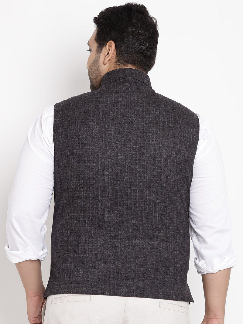 Black Sleveless Nehru Jacket- 7425