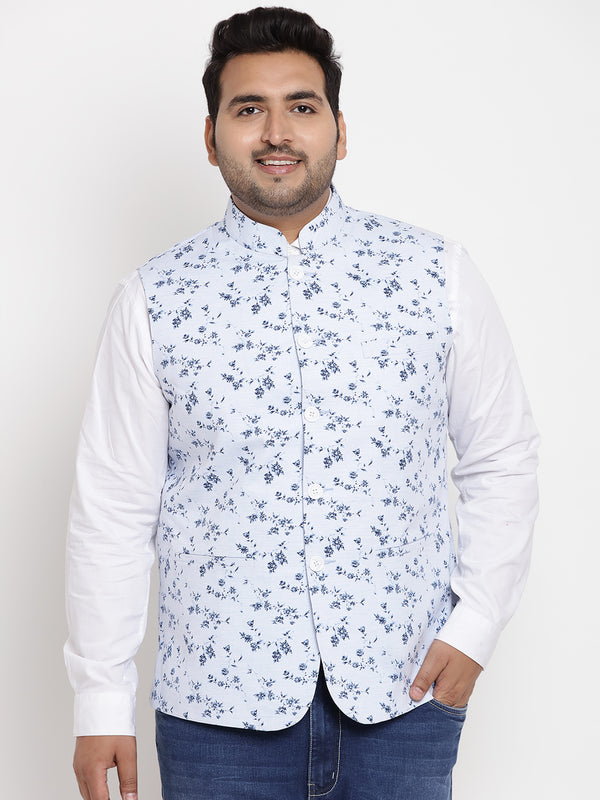 Alice Blue Flower Print Nehru Jacket - 7430A