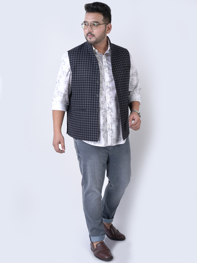 Black & Grey Small Check Nehru Jacket -7435