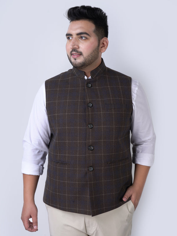Khaki Checked Brown Nehru Jackets- 7438