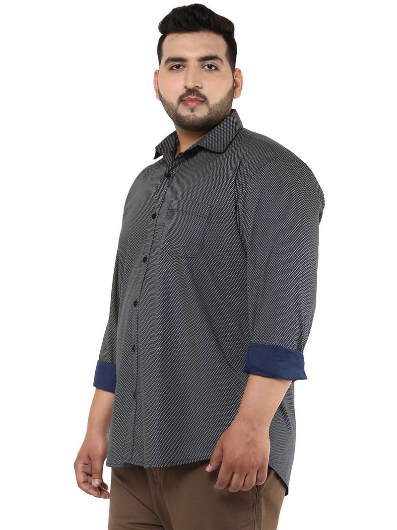 Beige & Navy Blue Shirt- 4136