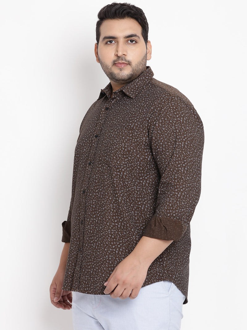 Coffee Full Sleeve Printed Shirt- 4155A