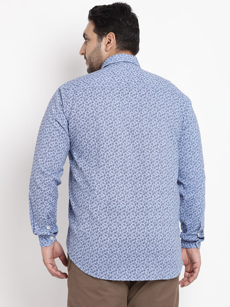 Light Blue Full Sleeve Printed Shirt- 4158A