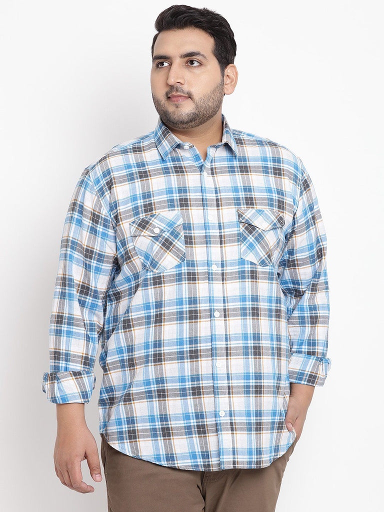 Blue Checked Full Sleeve Shirt- 4159A