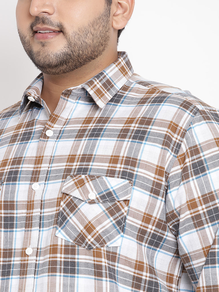 Brown Checked Full Sleeve Shirt- 4159B