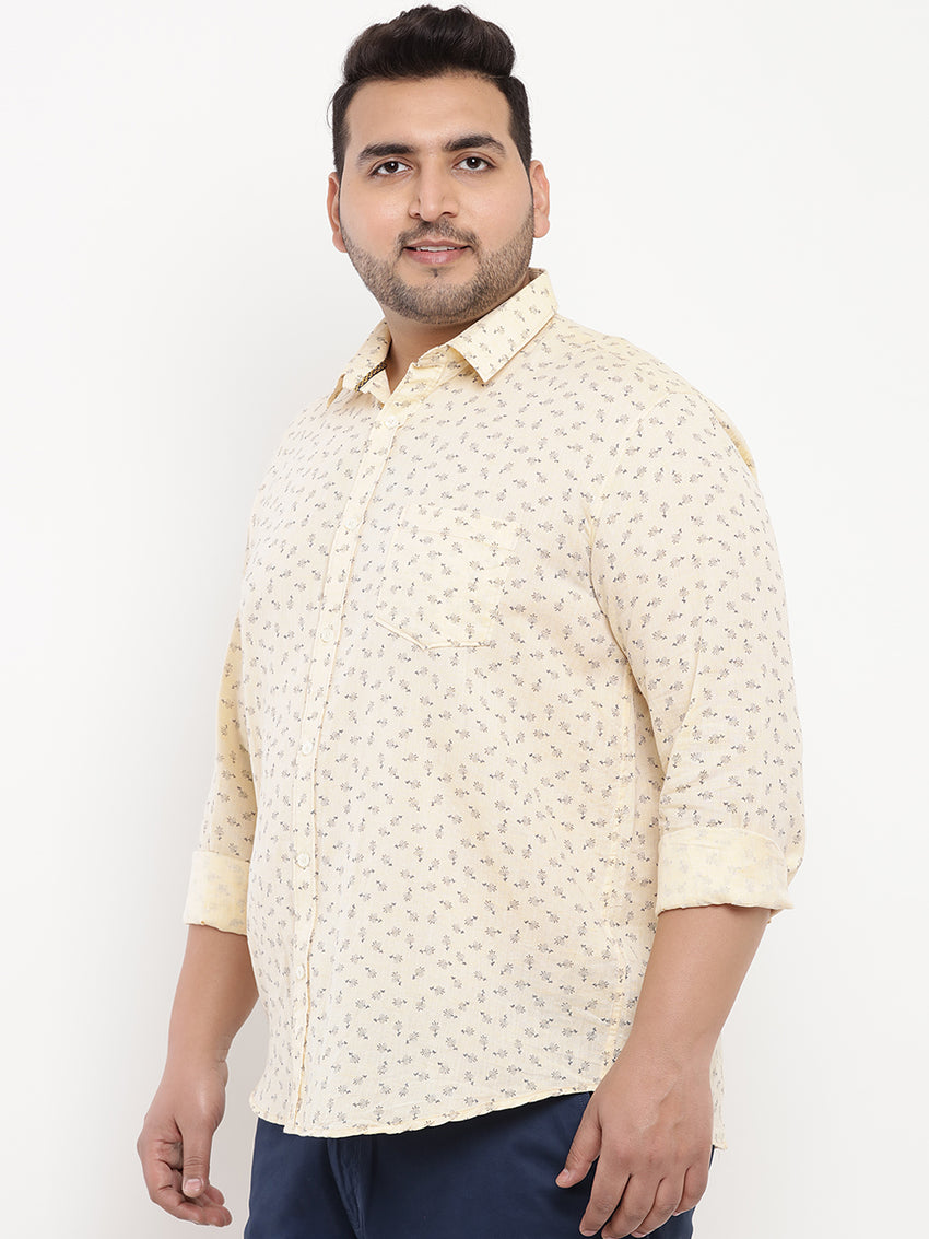 Flower Print Light Yellow Linen Shirt-4170B