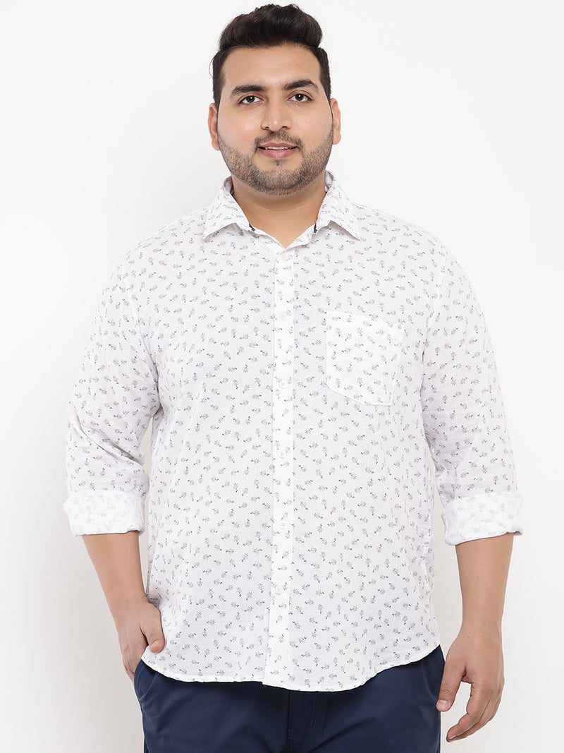 Flower Print White Linen Shirt-4170C
