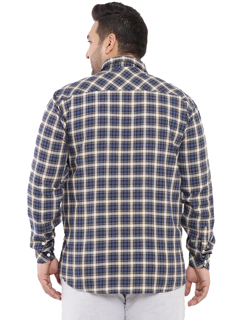 Navy Blue Check Shirt-4171A