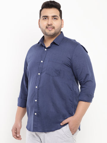 Navy Solid Linen Shirt-4172A