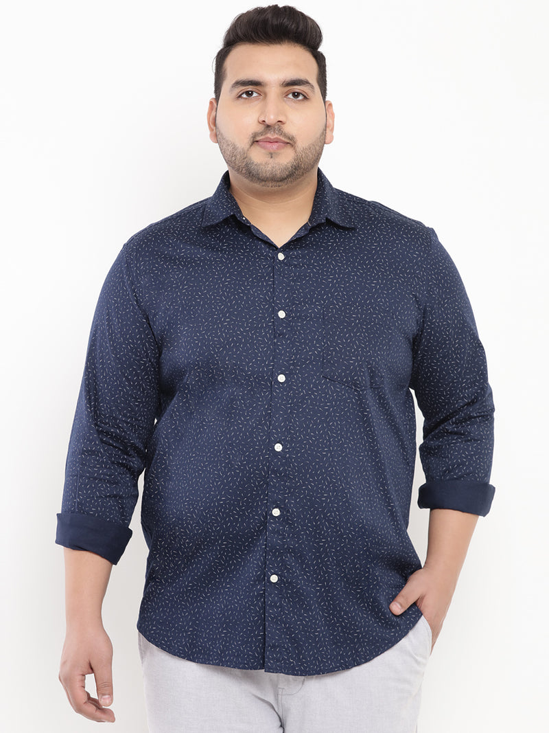 Navy Blue Ductile Printed Shirt-4179A