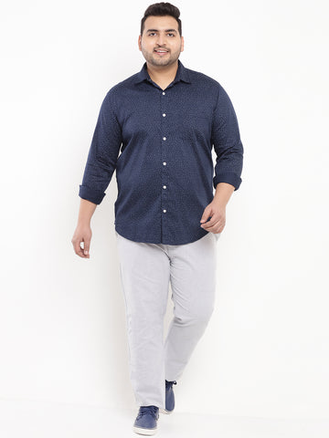 Navy Blue Print Shirt-4179A