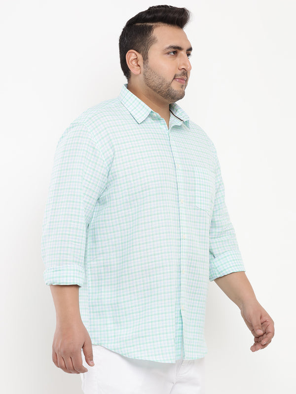 Sea Green Checked Linen Shirt-4182A