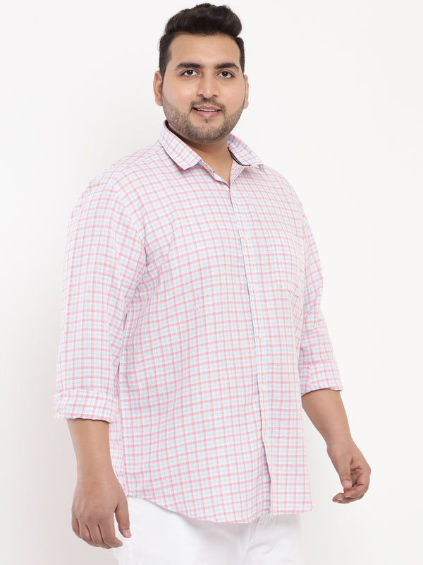 Pink Checked Linen Shirt-4182B