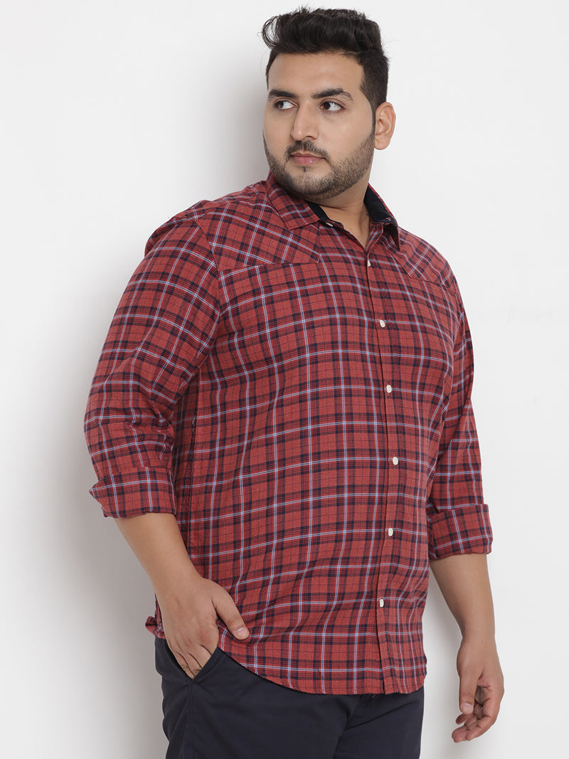 Rust Checked Cotton Shirt - 4192A