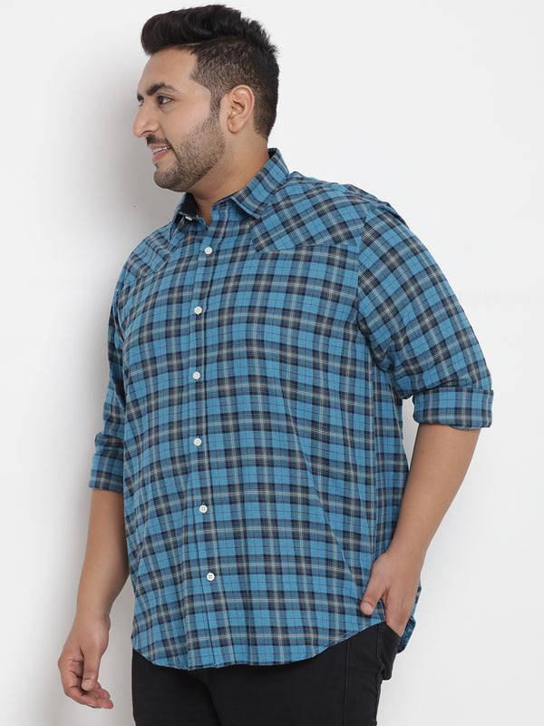 Blue Cotton Checked Shirt - 4192B