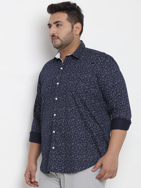 Navy Blue Cotton Printed Shirt - 4194B