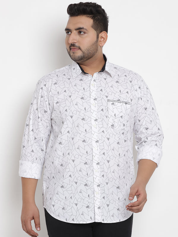 White Cotton Lycra Printed Shirt - 4195A