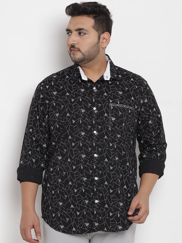 Black Cotton Lycra Printed Shirt - 4195B