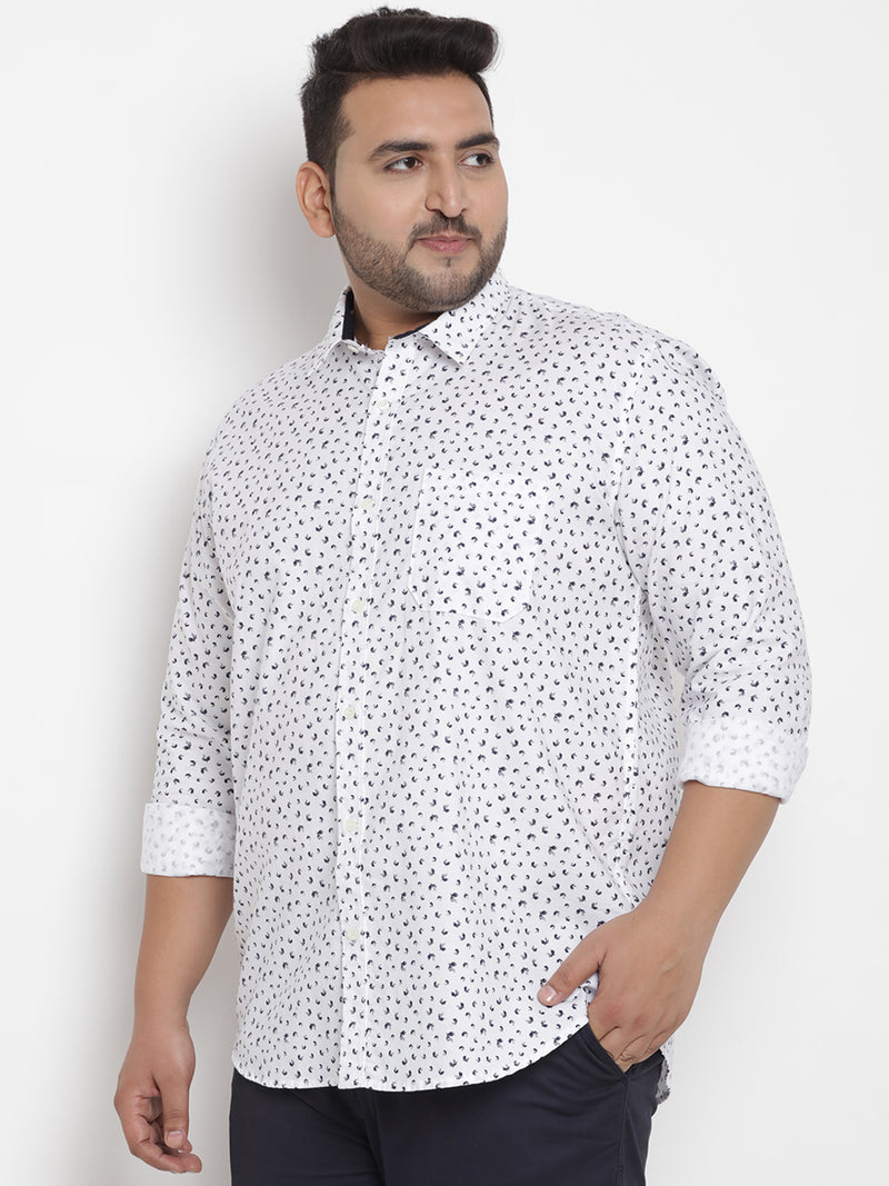 White Cotton Printed Shirt -4196A