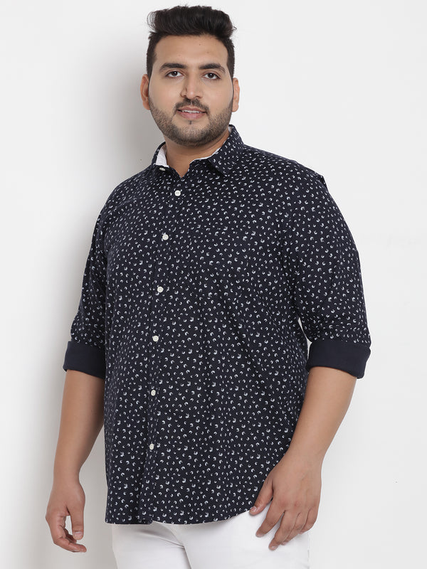 Dark Blue Cotton Printed Shirt - 4196B