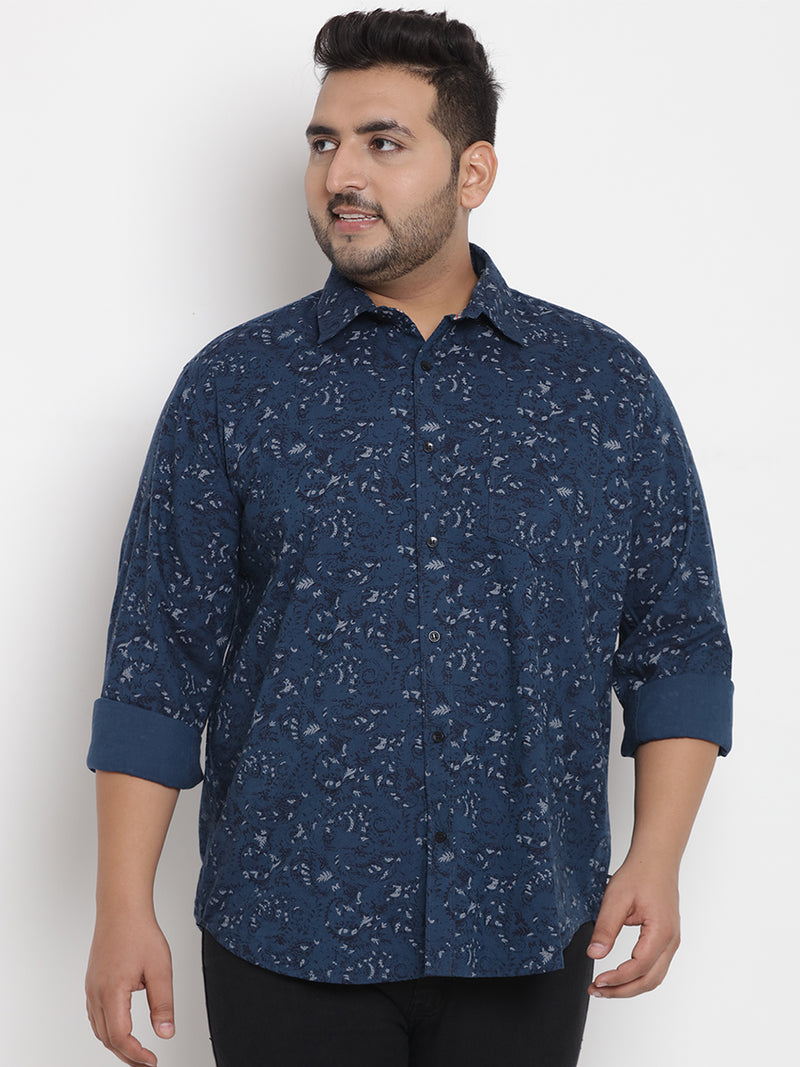 Blue Cotton Printed Shirt - 4198B